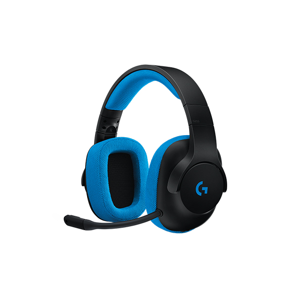 Logitech G233 Prodigy Wired Gaming Headset - Black / Cyan - 3.5mm