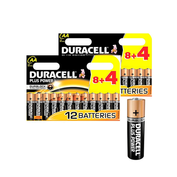Duracell AA Power Plus 8+4 Batteries (pkt/12pc)
