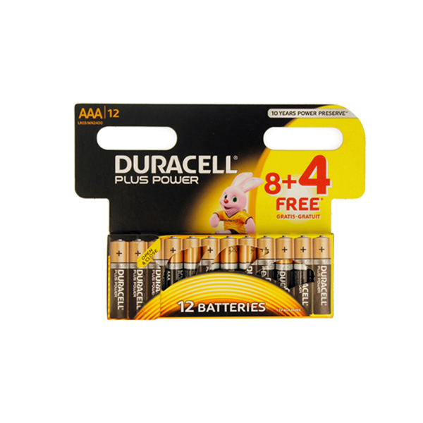 Duracell AAA plus power 8+4 Batteries (pkt/12pc)
