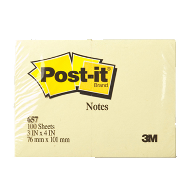 3M Post-it 657 Pad 3 x 4in - Yellow (pc)