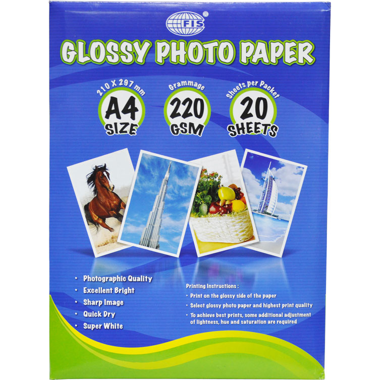 FIS Inkjet Glossy Paper A4 235gsm 50sheets (ream)