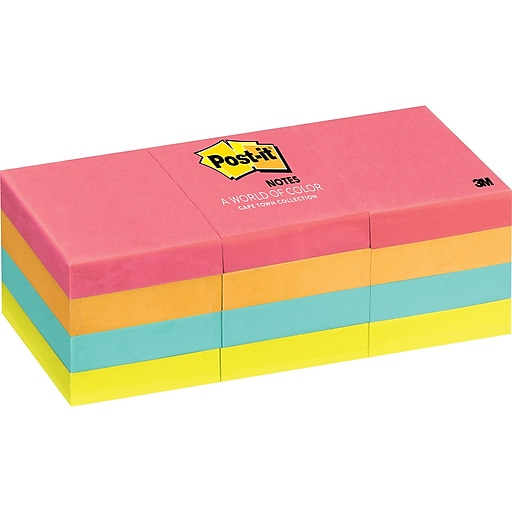3M Post-it Notes 653-AN Cape Town Collection 1.5 in x 2 in - Assorted  (pkt/12pcs)
