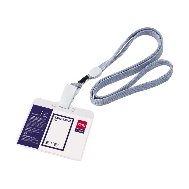Deli E5756 PVC Lanyard Badge - Blue