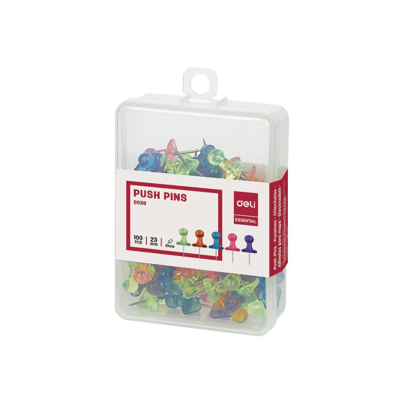 Deli E0030 Transparent Push Pins (pkt/100pc)