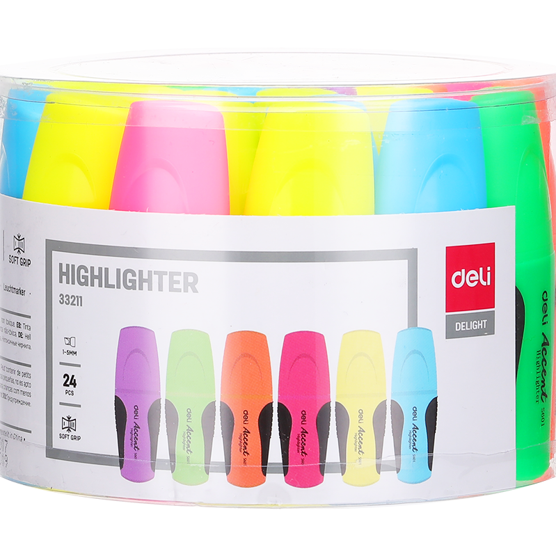 Deli 24-piece Drum Style Mini Highlighter (pkt/24pcs)