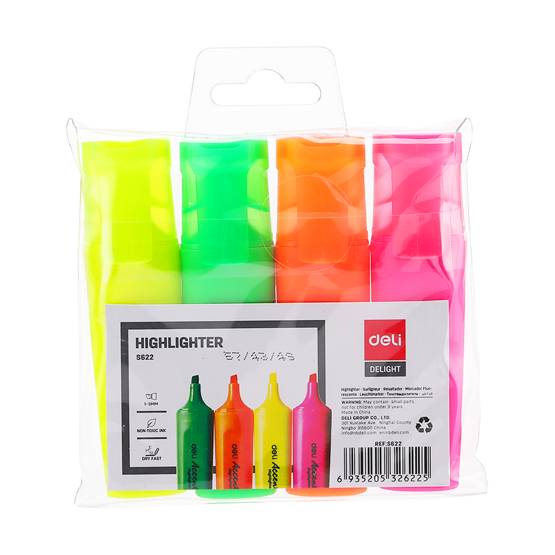 Deli ES622 4-piece Wallet Highlighter (pkt/4pcs)