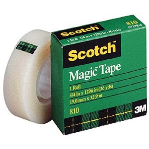 3M Scotch Magic Tape 810, 1 in x 1296 in - (pkt/12pc)