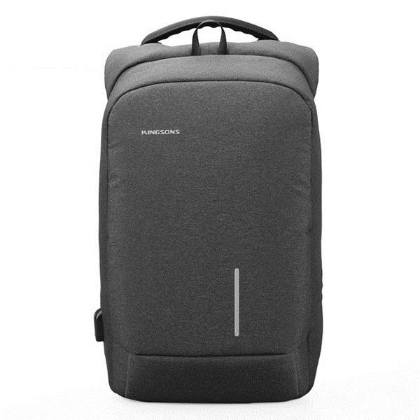 Kingsons Smart Backpack 15.6 in w/ USB Port - Light Grey