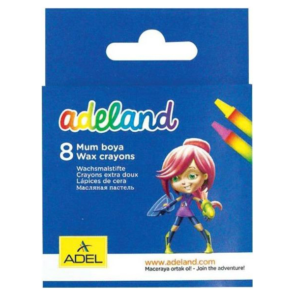Adeland Wax Crayon - 8 colors (pkt/8pcs)