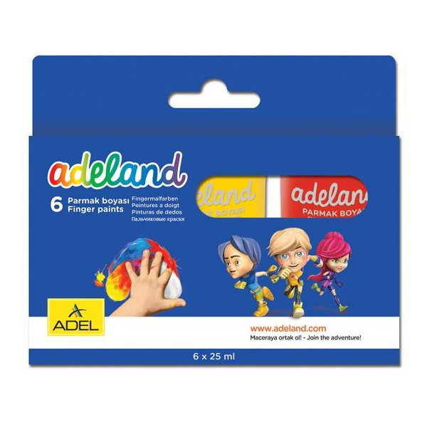 Adeland Finger Paint 25ml - 6 colors (pkt/6pcs)