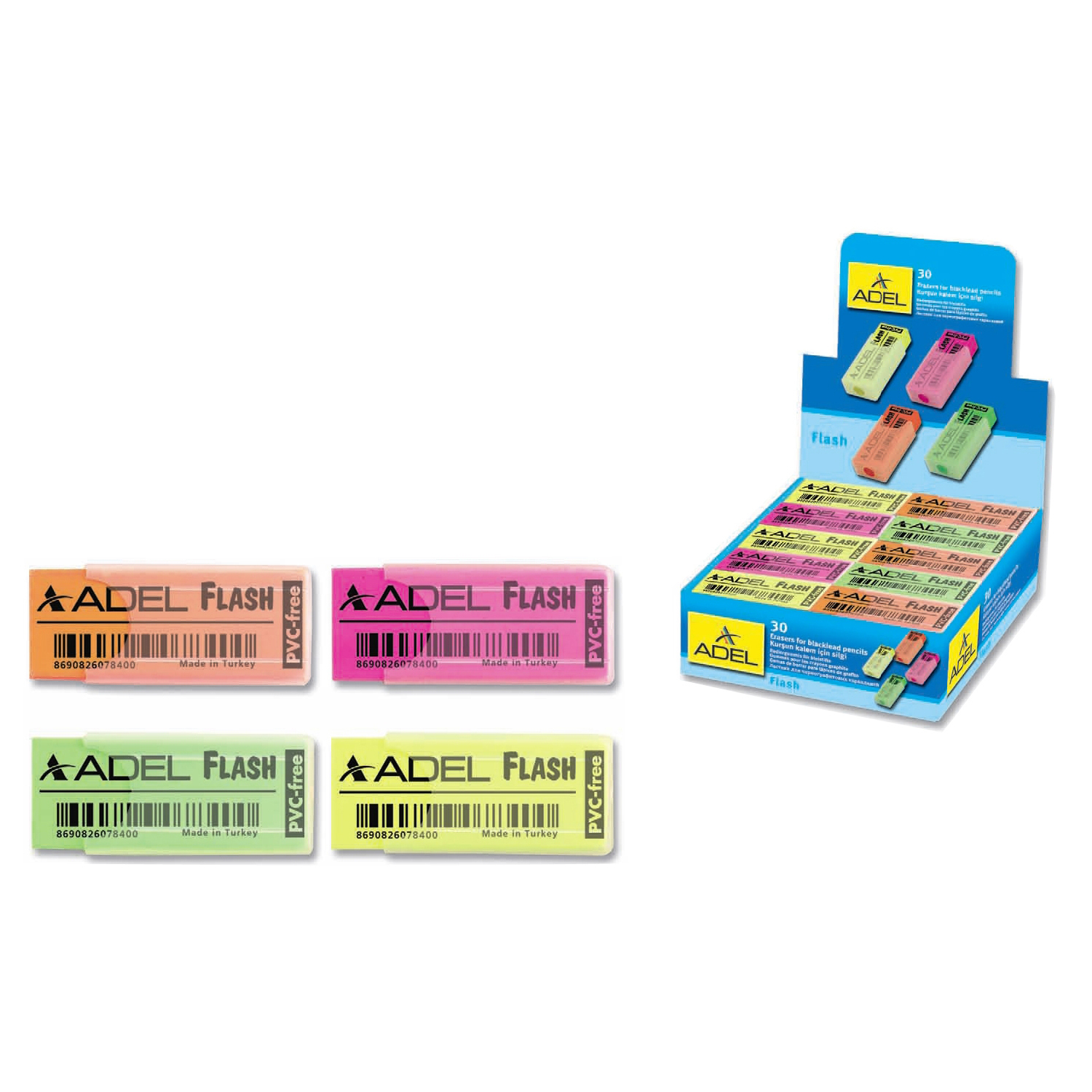 Adeland Flash School Eraser (box/30pcs)