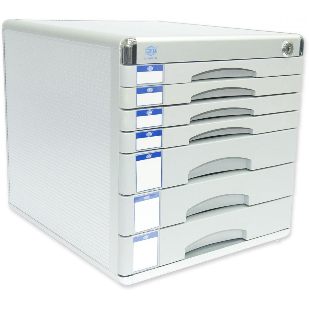 FIS Aluminium File Cabinet with Key, 7 Drawers, 300 x 360 x 305 mm - FSOTW-A8878