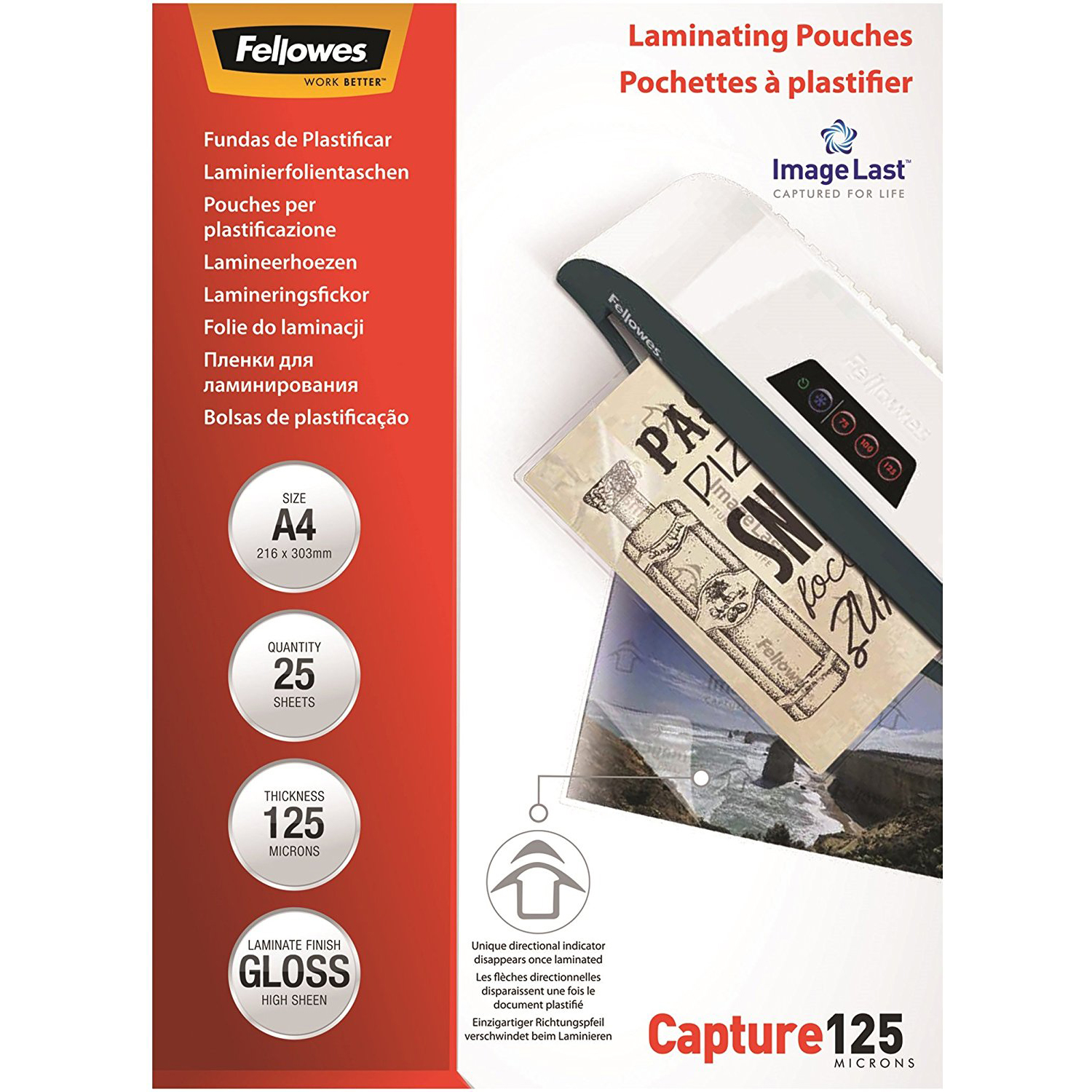 Fellowes ImageLast A4 125 Micron Laminating Pouch - (pkt/100pc)