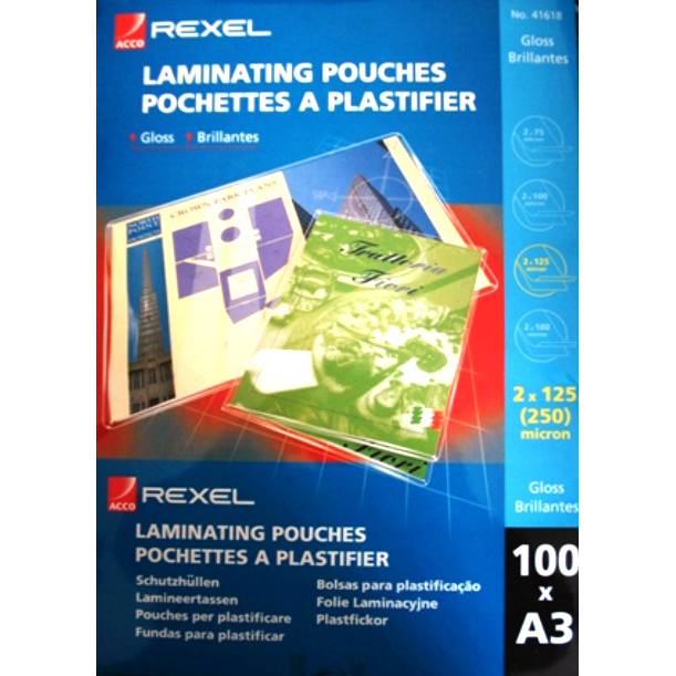 Rexel A3 125 Micron Gloss Laminating Pouches (pkt/100pc)