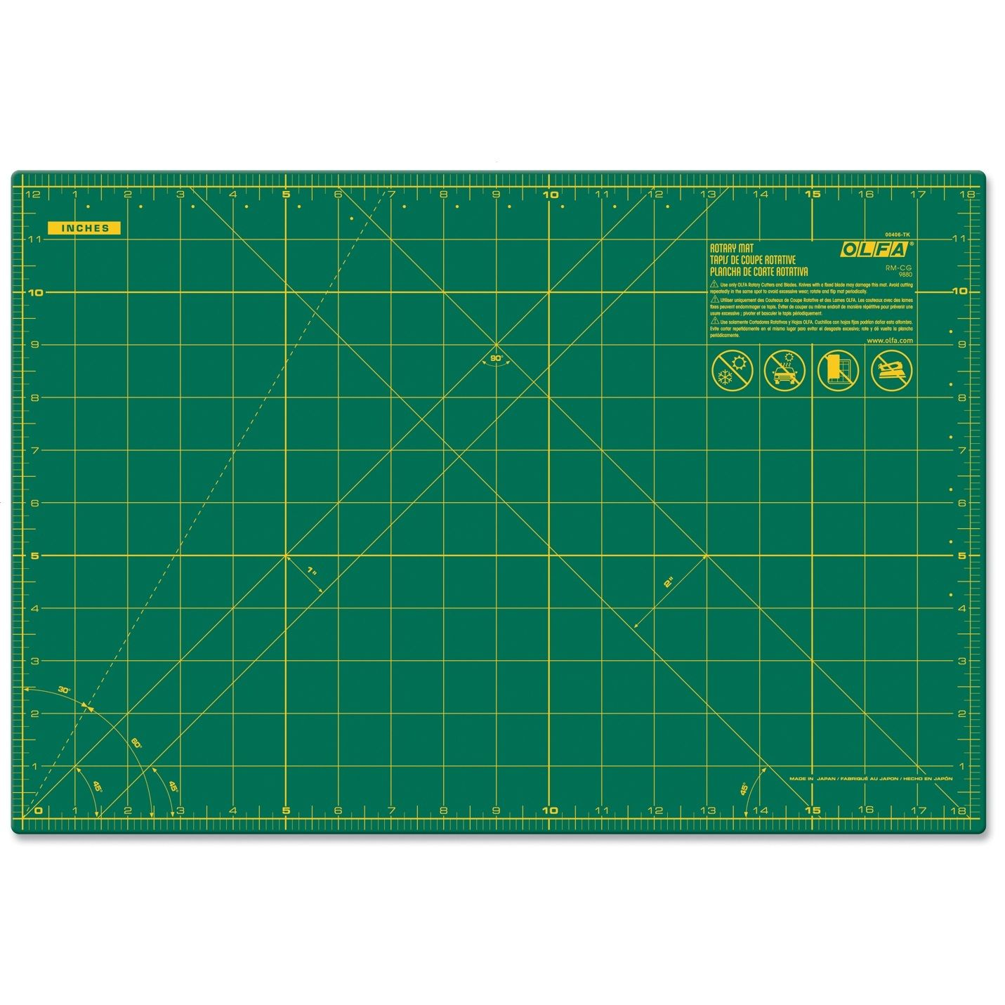 Olfa A3 Cutting Mat 430 × 280 × 1.5 mm - Green (pc)