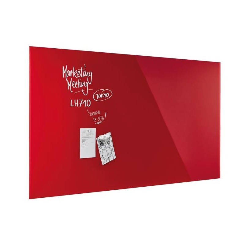 Magnetoplan Glass Board 80cm x 60cm - Intense Red (pc)