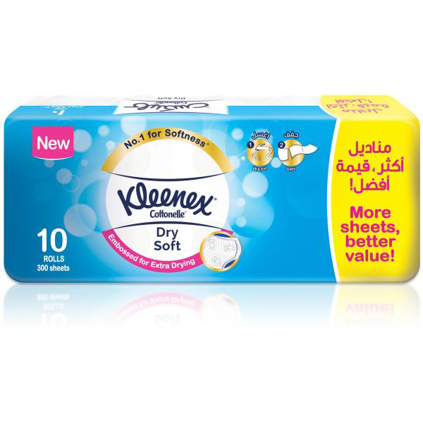 Kleenex Cotonelle Soft Dry Toilet Tissue (pkt/10 rolls)