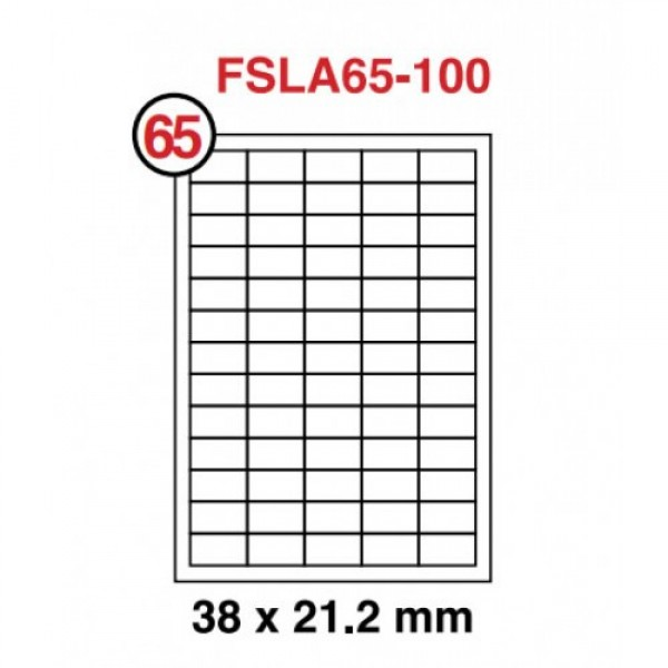 FIS Non-Glossy A4 White Label Sticker 38 x 21.2 mm (pkt/100sheets)