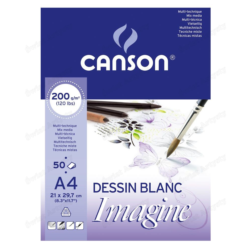 Canson Imagine Glued On Short Side Pads 200gsm A4 50 sheets (pc)