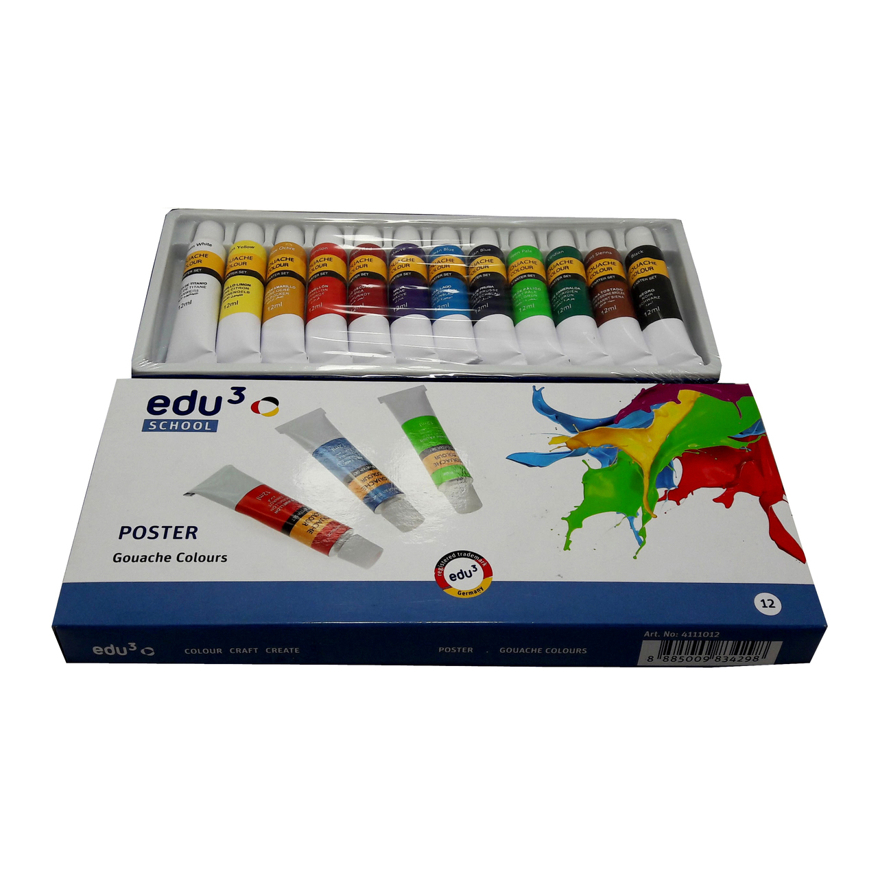 EDU3 4111012 Poster Gouache Colour Paint (pkt/12pcs)