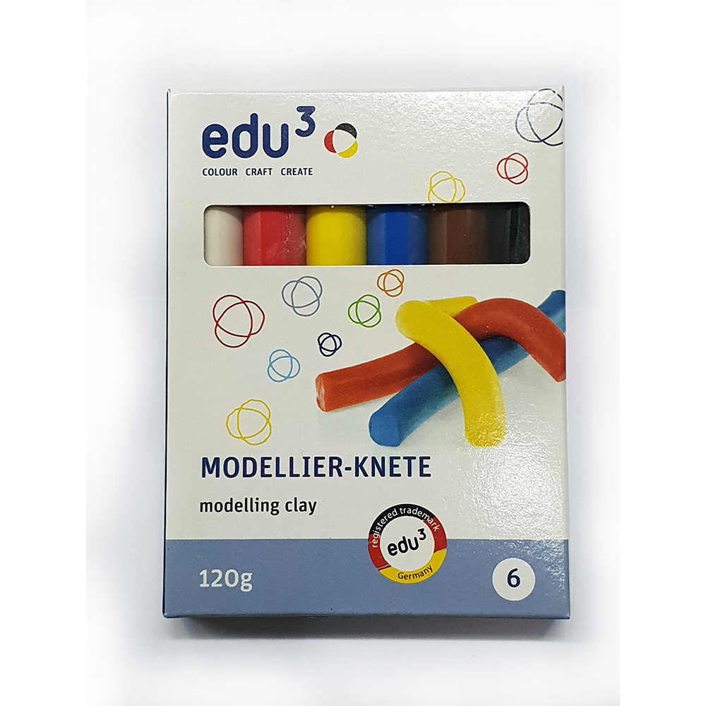 EDU3 Modellier-Knete Modelling Clay 120g (pkt/6pcs)