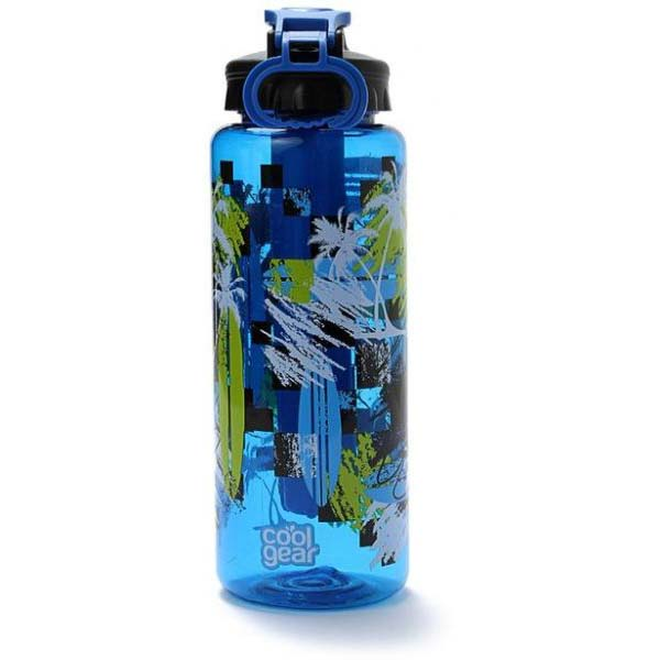 Cool Gear Cylinder Printed Can Bottle - Blue (0.946L)