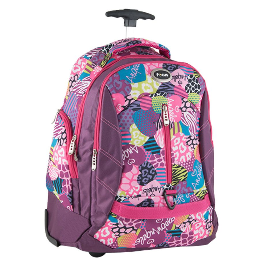 Focus Floral School Trolley Backpack Bag with Front Compartment - 18 inches