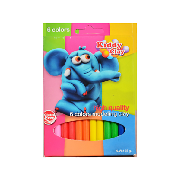 Kiddy Clay Modelling Clay Set of 6 Colors - 125gm