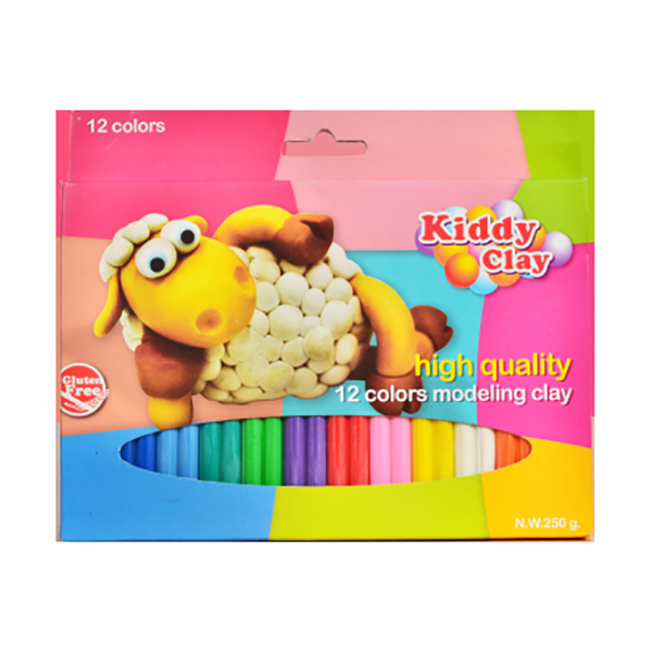 Kiddy Clay Modelling Clay Set of 12 Colors - 250gm