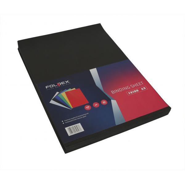 Foldex Binding Sheet 230gsm A3 - Black (pkt/100sheets)