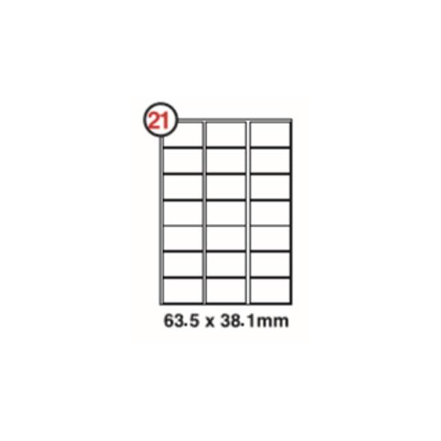FIS #21 Label Sticker 63.5 x 38.1mm (pkt/100sheets)