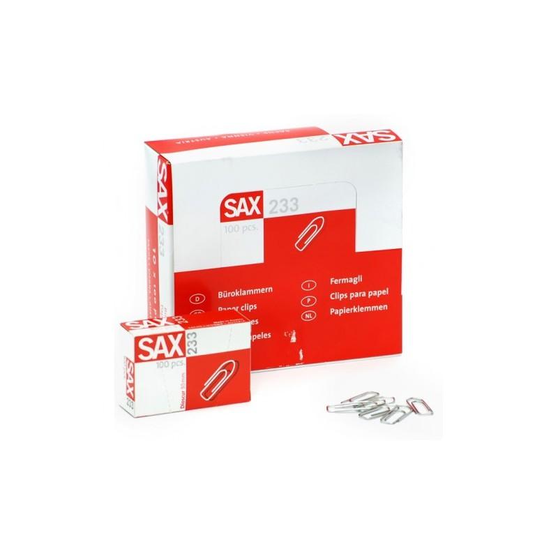 Sax 233 Paper Clips - 30mm (box/10pkt)