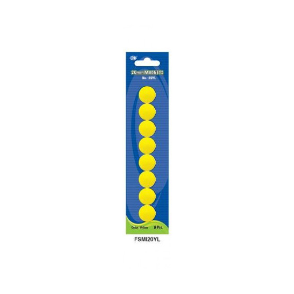 FIS Whiteboard 20mm Magnets - Yellow (pkt/8pcs)