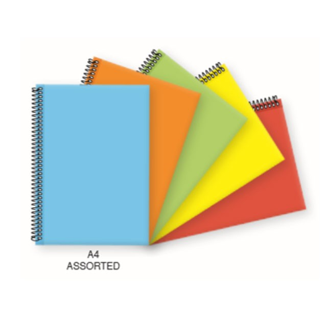 FIS Single Ruled Spiral Hard Cover 100 sheets A4 Notebook - Assorted Neon Colors FSNBSA4NASST (pkt/5pcs)