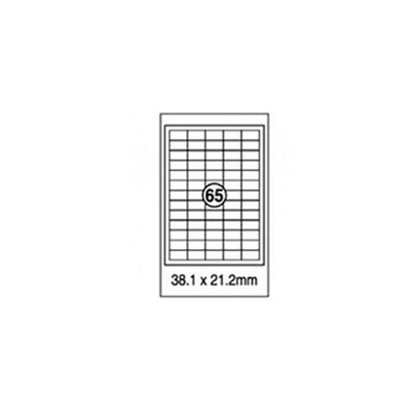 Xel-lent 65 Straight Corner Labels/Sheet 38.1mm x 21.2mm White - LFL00031 (pkt/100s)