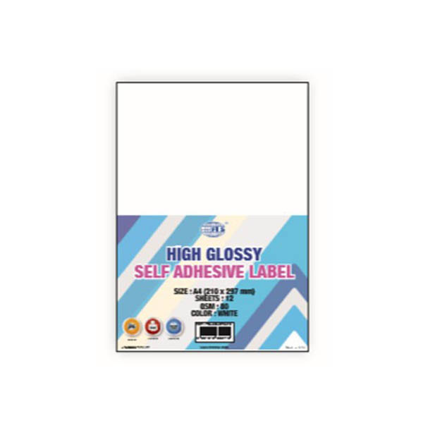 FIS FSLAGLSTA412 High Glossy Self Adhesive A4 Label 80gsm - White (pkt/12s)