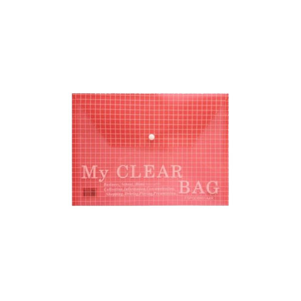 Deluxe My Clear Bag Document Bag A4 - Red (pkt/12pcs)
