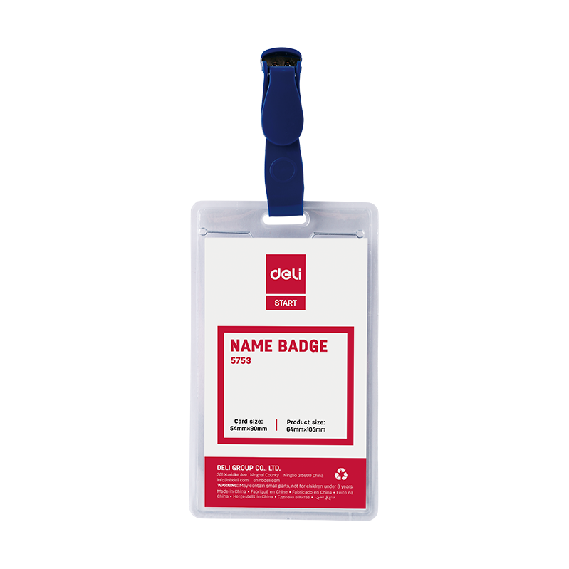 Deli 5753 Soft Plastic ID Card Holder with Plastic Clip (pc)