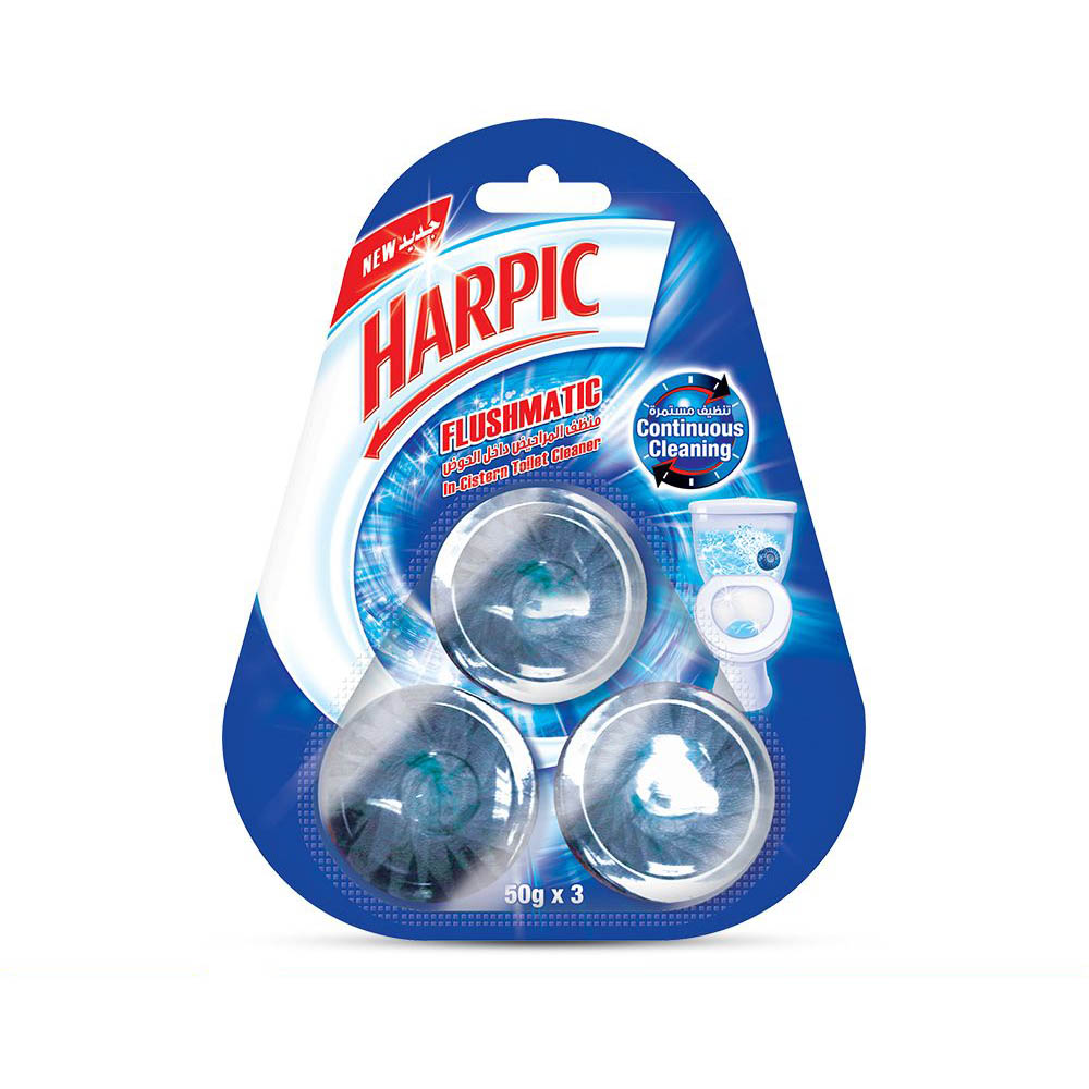 Harpic Flushmatic In-Cistern Toilet Cleaner Green - 50g (pkt/3pcs)