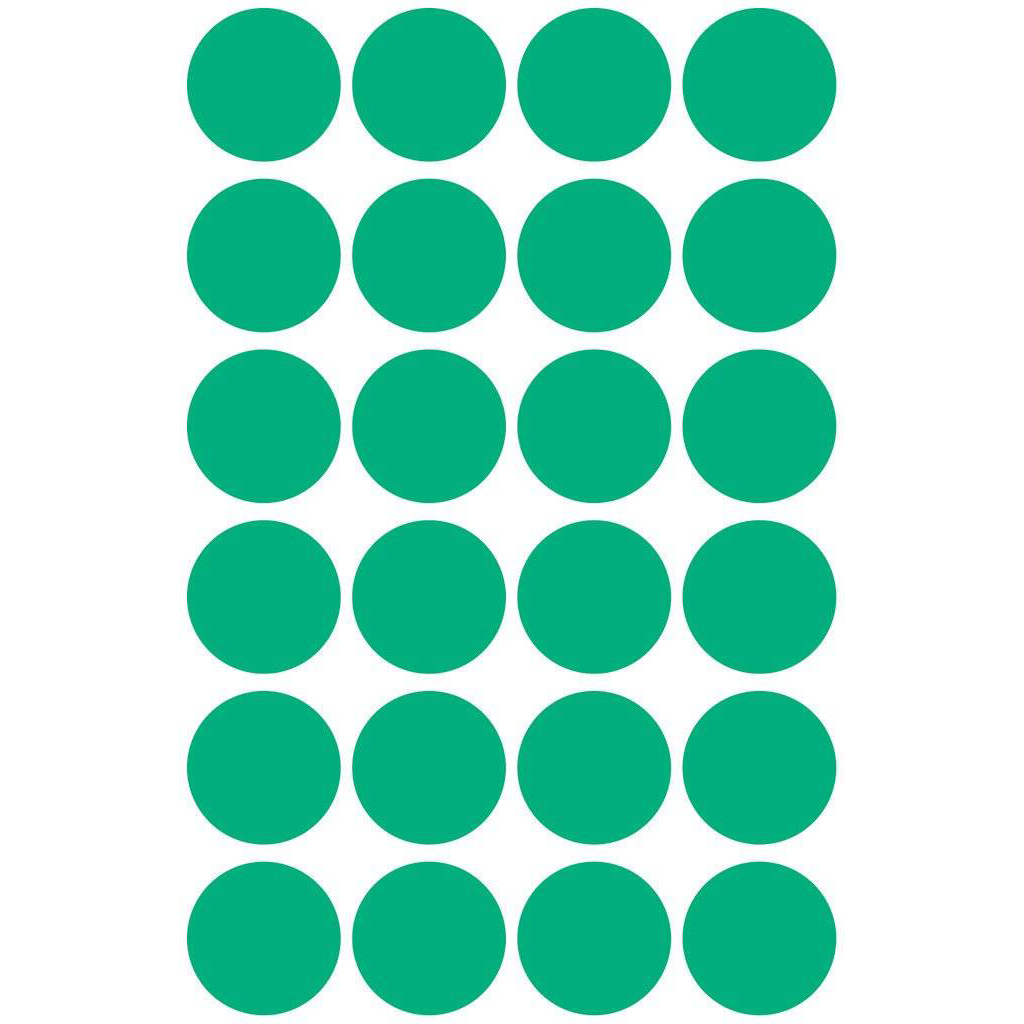 Pauli Round Office Labels 18mm - Green (pkt)