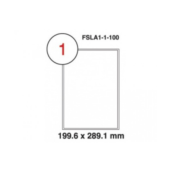FIS Multipurpose Label Sticker 199.6 x 289.1mm A4 White - FSLA1-1-100 (pkt/100s)