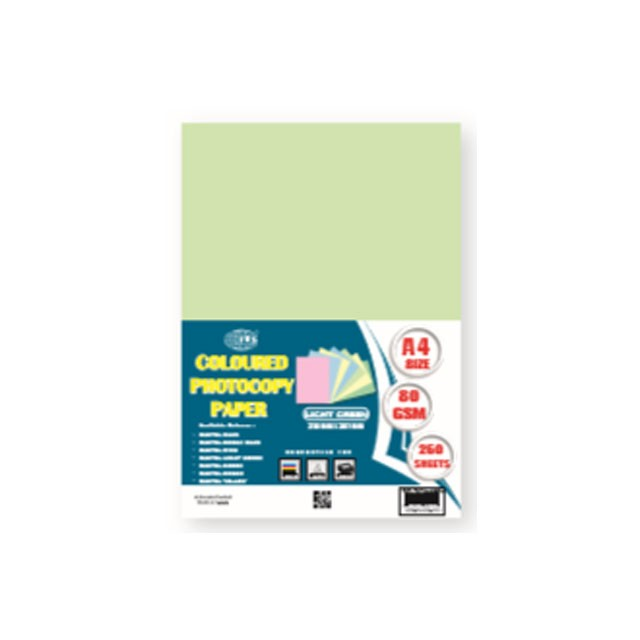 FIS FSPWA4250LG Color Photocopy Paper 80gsm A4 - Pastel Light Green (pkt/250s)