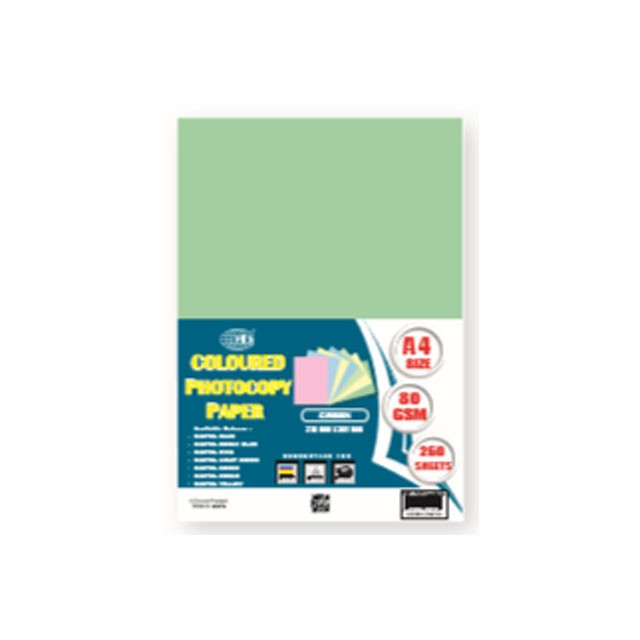 FIS FSPWA4250GR Color Photocopy Paper 80gsm A4 - Pastel Green (pkt/250s)