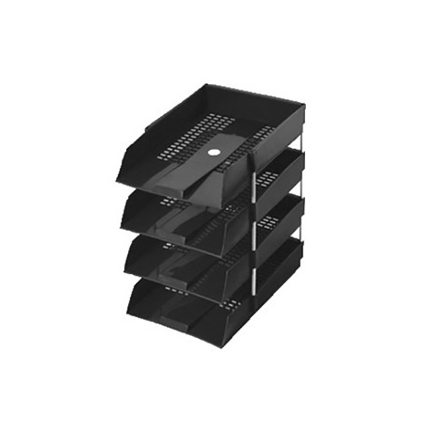 Omega 1718-4 Tier Plastic Letter Tray - Black (pc)