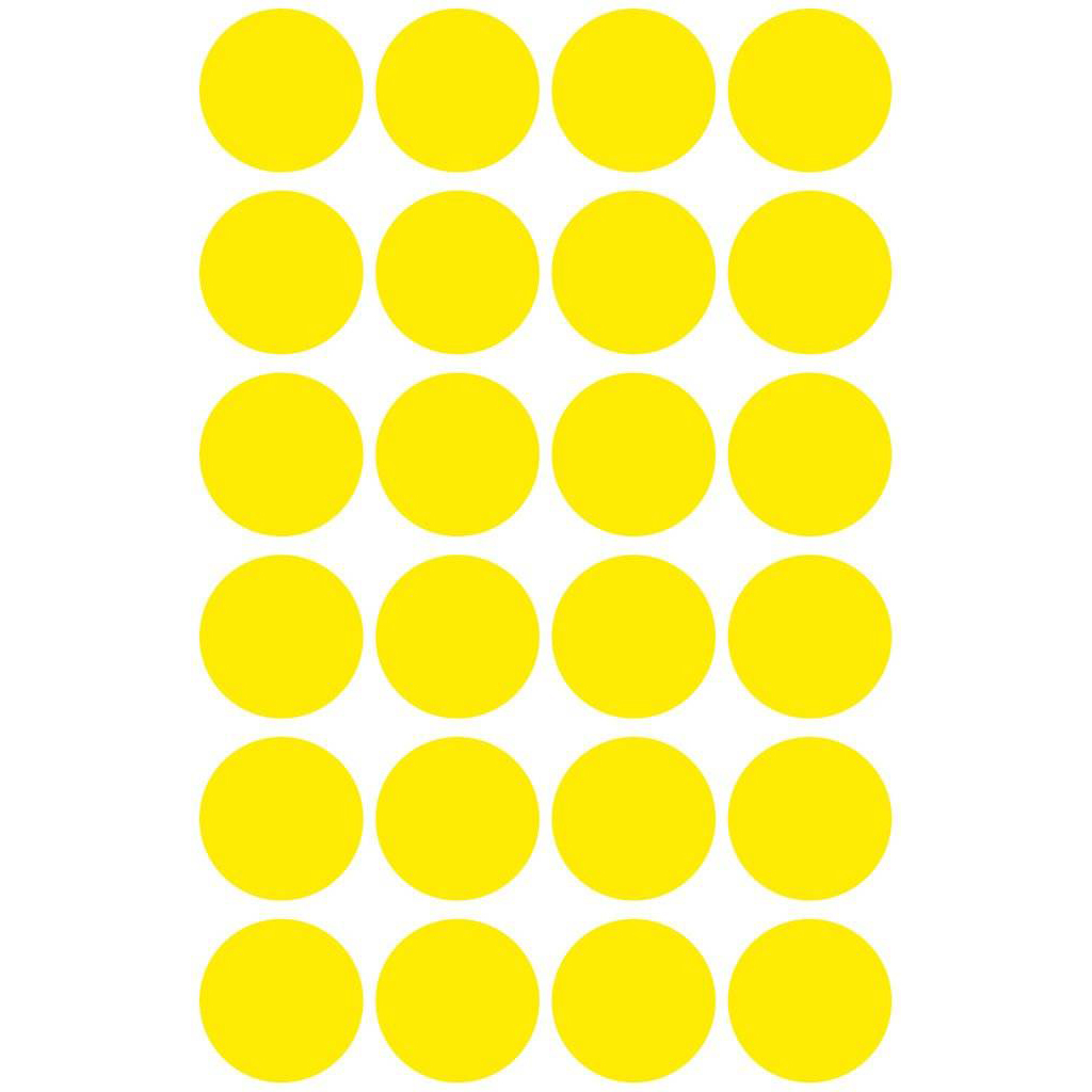 Pauli Office Round Labels 18mm - Yellow (pkt)