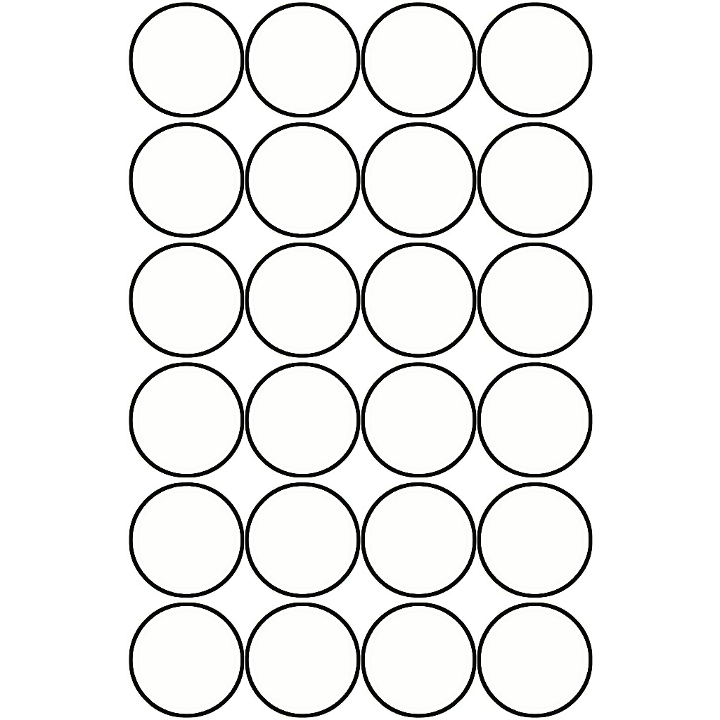 Pauli Office Round Labels 18mm - White (pkt)