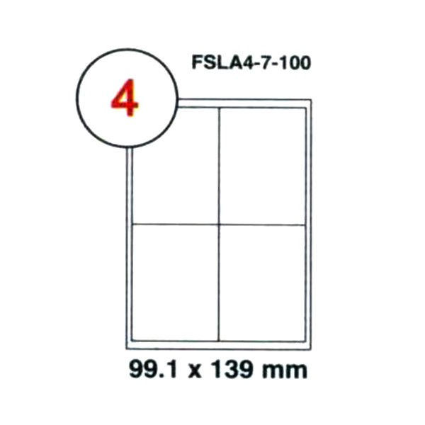 FIS Label Sticker 99.1 x 139 mm A4 - FSLA4-7-100 (pkt/100s)