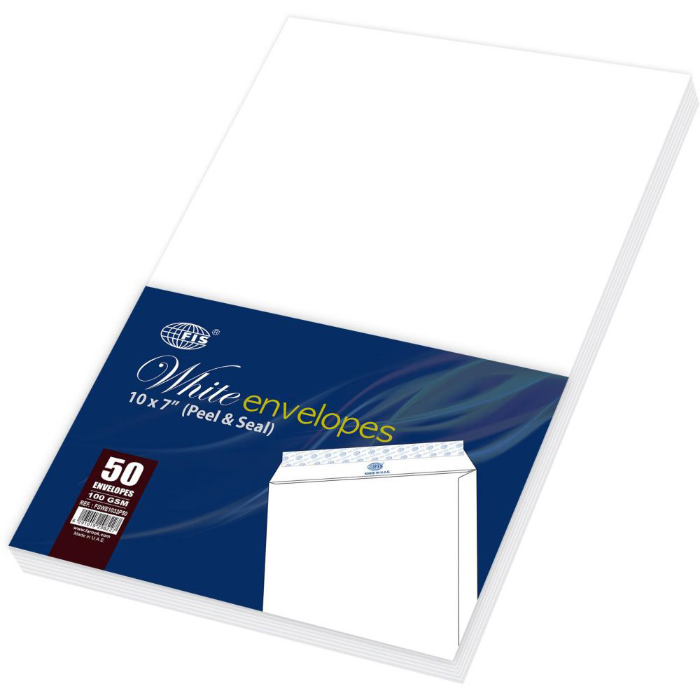 FIS FSWE1033P50 Envelope 10 x 7in - White (pkt/50pcs)