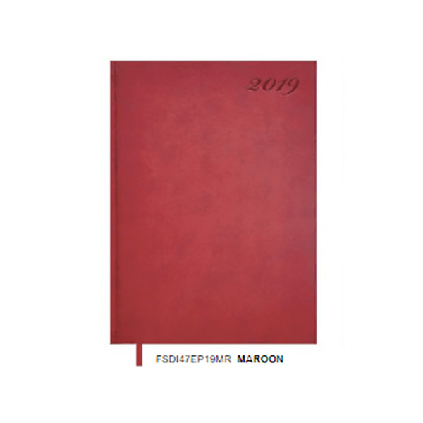 FIS Diary with Italian PU Leather Cover A4 FSDI47EP19MR - Maroon (pc)