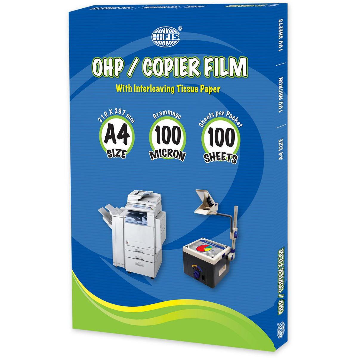 FIS OHP Sheets 100mic A4 Clear - FSFM210X297P (pkt/100pcs)